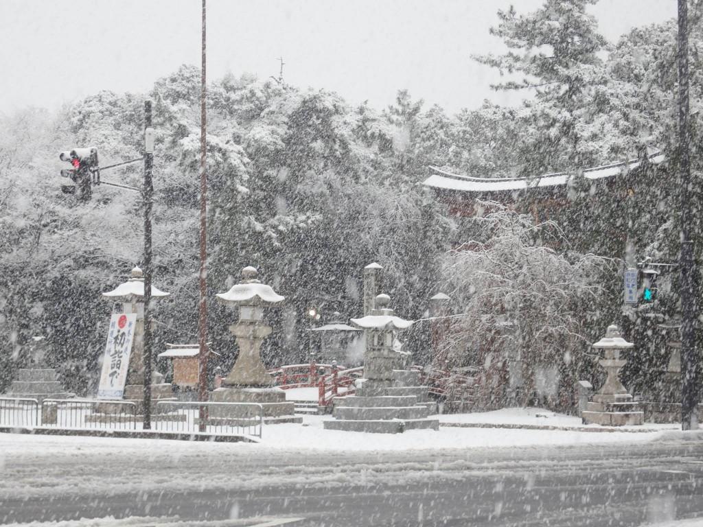 Tuyết rơi trước cửa một ngôi đền Thần đạo (Ishikawa)